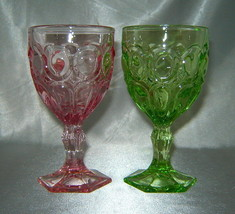 "Lot (2) FOSTORIA Moonstone 5.25"" Elegant Water/Wine Glass Goblets (Green, Pink) - $24.40"