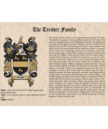 COAT of ARMS / Family Crest & SURNAME Origin / History on parchment styl... - $19.99