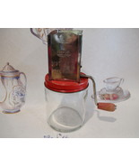Vintage ANDROCK NUT MEAT GRINDER Collector RED HANDLE LID Retro Kitchen  - $14.95
