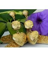 Vintage puffy heart dangle drop earrings southwestern post gold tone thumbtall