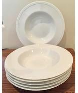Crate & Barrel Staccato Rimmed Soup Bowl Set of 6 Porcelain Kathleen Wil... - $60.76