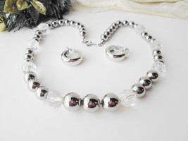 Sparkling Silver Metal & Clear Beads Necklace Earrings Set Vintage Demi ... - $30.00
