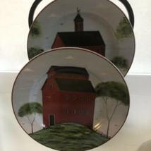 "Warren Kimball's Barns Set Of Two Dessert Plates Sakura 1998 Red 8"" - $12.28"