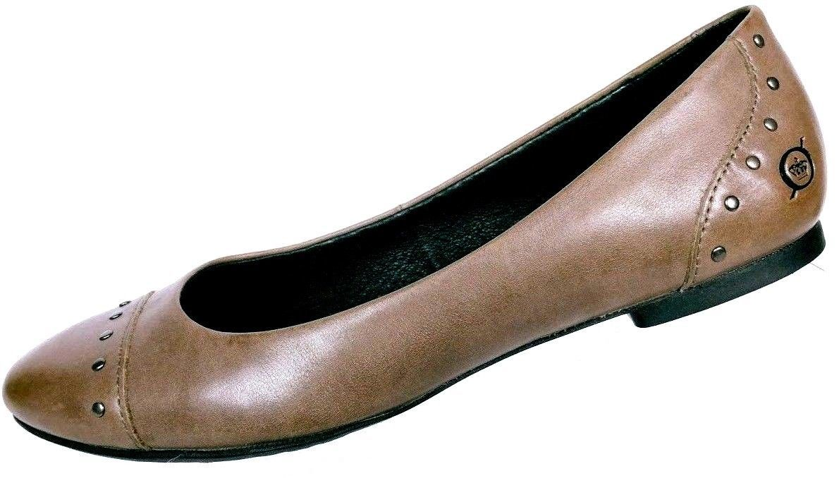 Born Women's Lola Brown Leather Studded Slip On Cap Toe Flats Size 36.5 US 6 M