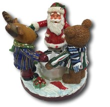 Candle Holder Christmas Santa Reindeer Moose & Bear Holding Hands Tea Light - $9.89
