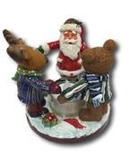 Candle Holder Christmas Santa Reindeer Moose & Bear Holding Hands Tea Light - $9.89
