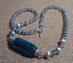 Israeli glass and vintage beaded necklace with silver accents and sterli... - $40.00