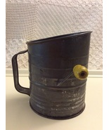 Vintage Bromwell Flour Sifter 5 Cup with Yellow Wood Handle - $28.75