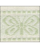 Mint Green Butterfly Garden 18ct Afghan 42x55 cotton rayon Zweigart - $52.00