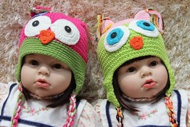 Knit Crochet Newborn Baby Child Kids Pink Green Owl Twins Hat Cap Beanie... - $12.99