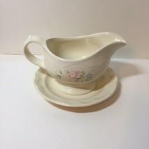 "Gravy Boat with Under Plate Tea Rose Pfaltzgraff 7.5"" - $12.59"