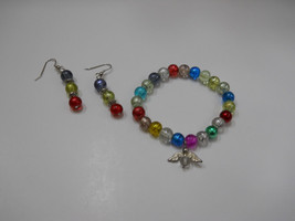 Handcrafted Multi-Color Glass Beaded Angel Charm Bracelet and Earring Set - $10.50