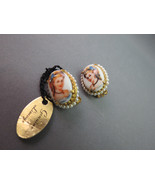 VTG Clip On Cameo Style Earrings Signed Made In... - $29.99