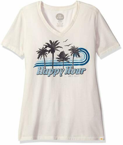Medium 8-10 Life is Good Women's Cool V-Neck Tee Happy Hour Palms T-Shirt Shirt