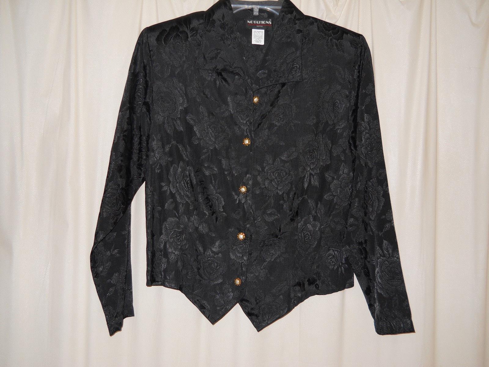 Vintage Notations Black Long Sleeve Blouse Floral Pattern Size Petite 4 - $4.50