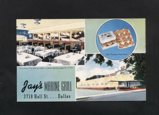 Vintage Advertising Postcard Jays Marine Grill Dallas TX Hall Street
