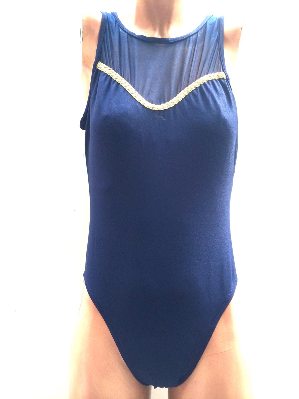 f96989464e0 Img 3821. Img 3821. Previous. Kathy Ireland Navy Blue Gold One Piece  Bathing Suit Authentic Vintage Swimwear. Kathy Ireland ...