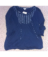 Old Navy 3/4 length sleeve navy blue top with keyhole and tie neck, size M - $13.09