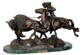 "American Bronzes ""Buffalo Hunt"" Solid Bronze St... - $899.95"