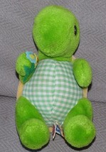 "Dakin 1983 Stuffed Plush Turtle Flower Small Green Gingham Plaid Nutshells 6.5"" - $37.61"