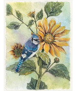 Sunflower Blue Jay Cross Stitch Pattern***LOOK*** - $4.95