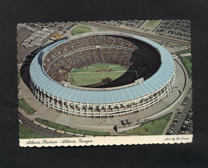 Vintage 1970s 1977 Postcard Aerial  Air View Atlanta Stadium GA Scalloped Edge