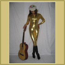 Gold Metallic Long Sleeve Faux PU Leather Wet Look Front Zip Up Jumpsuit Catsuit image 1