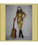 Gold Metallic Long Sleeve Faux PU Leather Wet Look Front Zip Up Jumpsuit... - $72.95