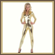 Gold Metallic Long Sleeve Faux PU Leather Wet Look Front Zip Up Jumpsuit Catsuit image 2