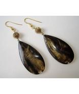 Brown Black Gold Tear Drop Earrings Handmade Pierced Hook Beaded Dangle - $20.00