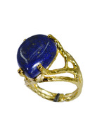Fashion Gold Plated Lapis Lazuli Stone Ring Jewelry Size US 4-11 NFMU26J... - $24.26