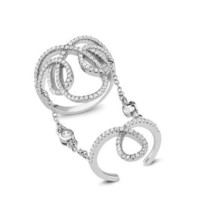 Pave Open Loops 5A Cubic Zirconia Chain Knuckle Sterling Silver Ring-925 - $99.99