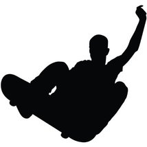 Skateboarding Wall Decal Sticker - Skating Sports Silhouette Decoration ... - $34.95