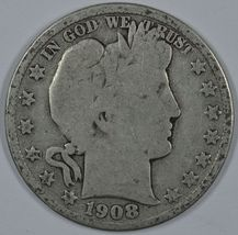 1908 D Barber circulated silver half - $19.00