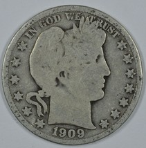 1909 P Barber circulated silver half - $20.00