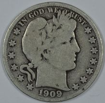1909 S Barber circulated silver half - $26.00