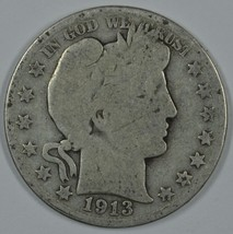 1913 D Barber circulated silver half - $21.00
