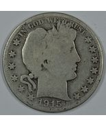 1915 D Barber circulated silver half - $20.00