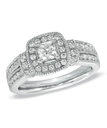 1.9 CT Princess & Round Cut White Cz Women's Engagement Ring 925 Silver ... - $60.99