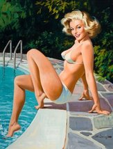 Pin-Up Girl Poster Wall Decal Sticker - At the Pool by Arthur Saron Sarn... - €7,55 EUR