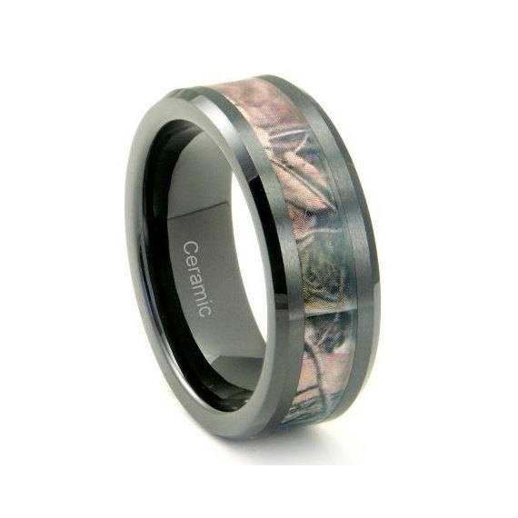 Primary image for Black Tungsten / Ceramic Mens Hunting Camo Ring, Comfort Fit Band, 8mm