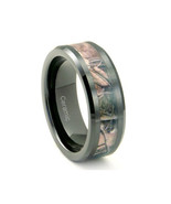 Black Tungsten / Ceramic Mens Hunting Camo Ring, Comfort Fit Band, 8mm - $34.95