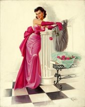Pin-Up Girl Poster Wall Decal Sticker - The Pink Dress by Art Frahm - 24... - ₹2,302.51 INR