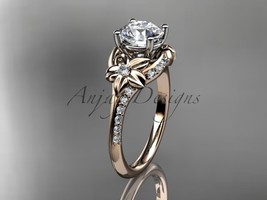 Unique bridal ring, 14kt  rose gold diamond floral wedding ring, engagem... - $1,235.00