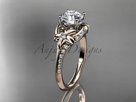 Unique bridal ring, 14kt  rose gold diamond floral wedding ring, engagem... - $1,235.00