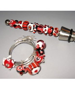 Handmade Lampwork Wine Charm/ Bottle Stopper Set  - $50.00