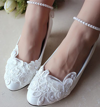 Low heels Pearl Ankle Strap Bridal Shoes,Butterfly Bridal Flat,Bridal La... - £46.66 GBP