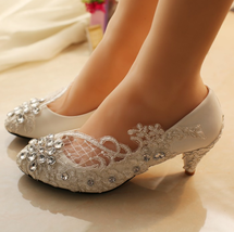 5CM Heels Wedding Shoes,Lace Bridal Shoes,Lace Bridal Shoes,Pearl Bridal... - £38.61 GBP