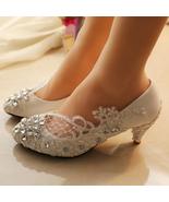 5CM Heels Wedding Shoes,Lace Bridal Shoes,Lace Bridal Shoes,Pearl Bridal... - $48.00