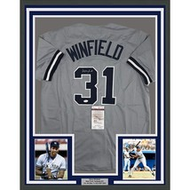 FRAMED Autographed/Signed DAVE WINFIELD 33x42 New York Grey Jersey JSA C... - $449.99